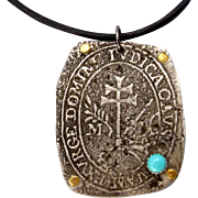 Rustic Turquoise Relic Pendant Necklace