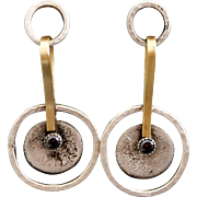 Mixed Metal Sterling Silver And Brass Textured Post Earrings