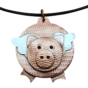When Pigs Fly Mixed Metal Copper And Silver Pendant Necklace