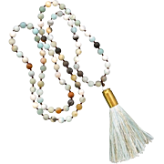 Amazonite Bullet Shell Casing Necklace With Blue Tassel