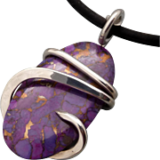 Kingman Purple Turquoise Silver Wrapped up Pendant Necklace
