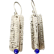 Rustic Silver And Lapis Lazuli Relic Rune Earrings