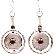 Garnet Reticulated Sterling Silver Textured Earrings