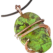 Green Turquoise Copper Pendant Necklace