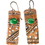 Malachite Copper Fold Formed Textured Earrings