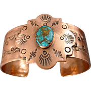 Hand stamped Copper Cuff Bracelet With Turquoise Cabochon
