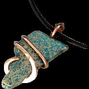 Sea Sediment Jasper Copper Wrapped Pendant Necklace