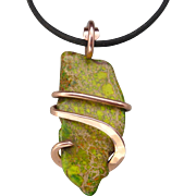Green Sea Sediment Jasper Copper Wrapped Pendant Necklace