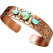 Southwestern stamped Copper Cuff Bracelet With Turquoise Cabochon