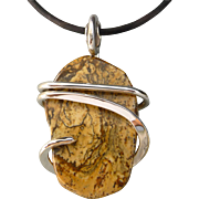 Picture Jasper Silver Wrap Pendant Necklace