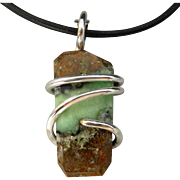 Natural Chrysoprase Silver Wrapped Pendant Necklace