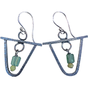 Sterling Silver Earrings With Ancient Roman Glass