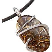 Fossilized Ammonite Sterling Silver Pendant Necklace