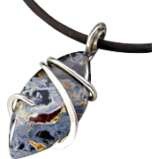 Blue Pietersite Sterling Silver Wrapped Pendant Necklace