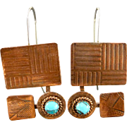 Rustic Copper And Turquoise Textured Earrings