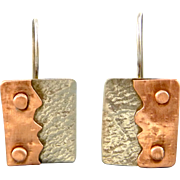 Mixed Metal Copper And Silver Earrings