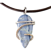 Sterling Silver Owyhee Blue Opal Wrapped Pendant Necklace