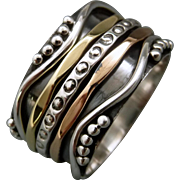 Mixed Metal Copper And Sterling Silver Spinner Ring