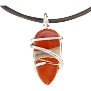 Red Jasper Sterling Silver Wrapped Pendant Necklace