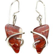 Red Snakeskin Jasper Sterling Silver Wrapped Earrings