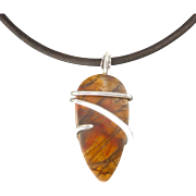 Red Creek Jasper Cabochon Sterling Silver Wrapped Pendant Necklace