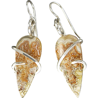 Crazy Lace Agate Sterling Silver Wrapped Earrings