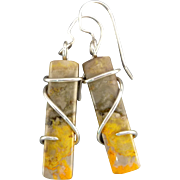Bumble Bee Jasper Sterling Silver Wrapped Earrings