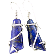 Lapis Lazuli Sterling Silver Wrap Earrings