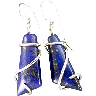 Lapis Lazuli Sterling Silver Wrap Earrings