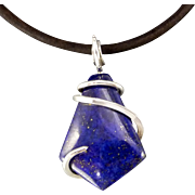 Lapis Lazuli Sterling Silver Wrapped Pendant Necklace