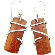 Red Creek Jasper Sterling Silver Wrapped Earrings