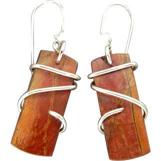 Red Creek Jasper Sterling Silver Wrapped Earrings