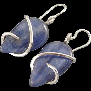 Sterling Silver Wrapped Kyanite Earrings