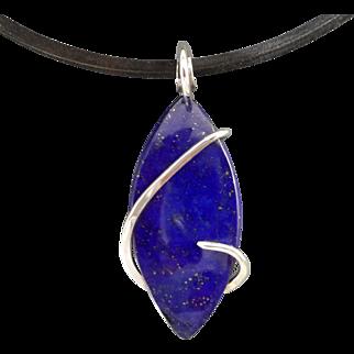 Lapis Lazuli Sterling Silver Wrap Pendant Necklace