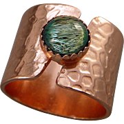Textured Copper Green Dichroic Glass Ring