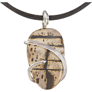 Paintbrush Artistic Jasper Cabochon Sterling Silver Wrap Necklace