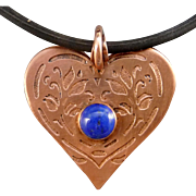 Copper Heart Etched Necklace With Lapis Cabochon
