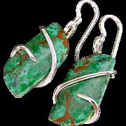 Chrysocolla Earrings sterling silver earrings