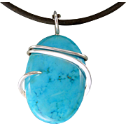 Turquoise Sterling Silver Wire Wrap Pendant Necklace
