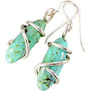 Turquoise Sterling Silver Wrapped Earrings