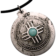 Rustic Amazonite Relic Pendant Necklace