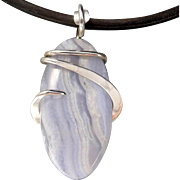 Blue Lace Agate Sterling Silver Pendant Necklace