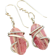 Pink Rhodochrosite Earrings