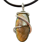 Orange Labradorite Sterling Silver Wire Wrap Pendant Necklace