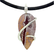 Sonoran Dendrite Rhyolite Sterling Silver Wire Wrap Pendant Necklace