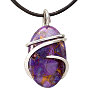 Purple Turquoise Sterling Silver Wire Wrap Pendant Necklace