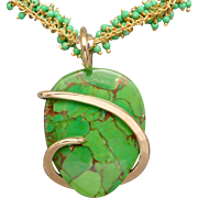 Mohave Green Turquoise Wire Wrap Pendant Necklace