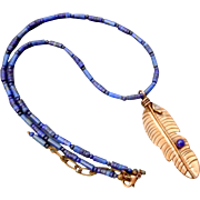 Southwestern Lapis necklace with copper feather pendant
