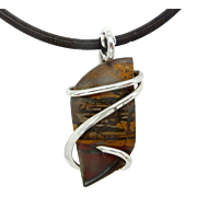 Indian Paint Jasper Sterling Silver Wire Wrap Pendant Necklace