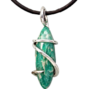 Amazonite Sterling Silver Wire Wrap Pendant Necklace